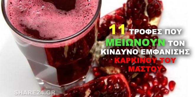 11 Τροφές Που Μειώνουν τον Κίνδυνο Εμφάνισης Καρκίνου του Μαστού!