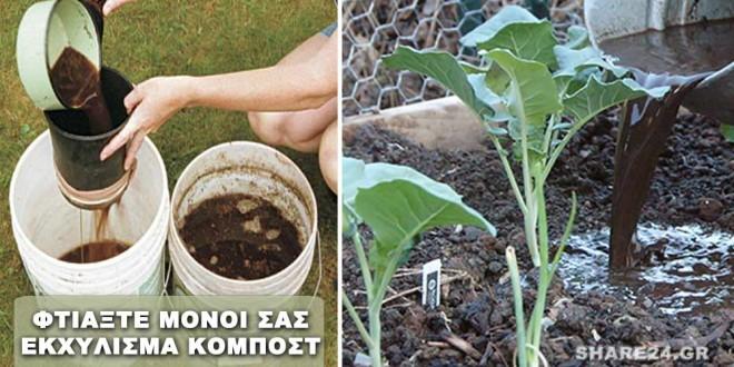 Φτιάξτε Εκχύλισμα Τσάι Κομπόστ για Βιολογική Λίπανση των Φυτών Σας