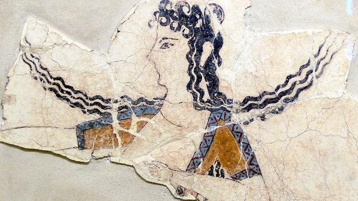 «Η χορεύτρια», τοιχογραφία στην Κνωσό, (1600–1450 B.C.E.), που μοιάζει πολύ με τις Μυκηναίες (παραπάνω).