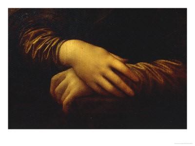 Λεπτομέρεια με τα χέρια της Μόνα Λίζα