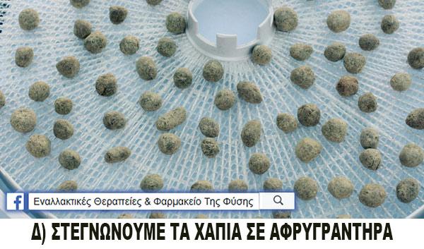 Φτιάχνουμε φυτικά χάπια με βότανα - τέταρτο βήμα, στεγνώνουμε τα χάπια